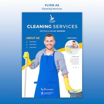 Schoonmaak service concept flyer sjabloon