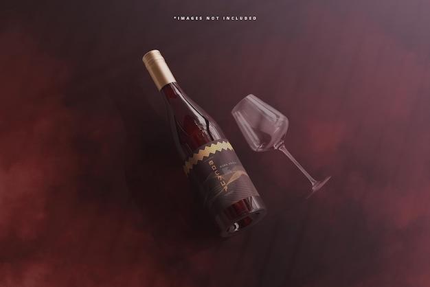 Schroefdop wijnfles met glazen mockup
