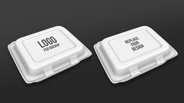 Schuimvoedselcontainer mockup 3d-rendering ontwerp