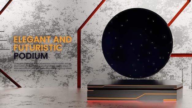 Scifi metalen podium met night sky sc .ne