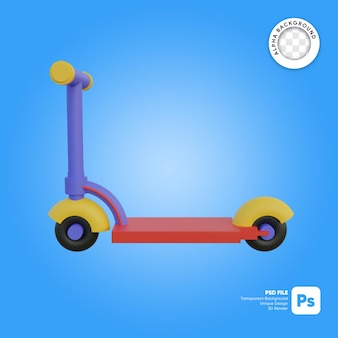 Scooter kid cartoon stijl zijaanzicht 3d-object