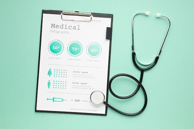 Scrivania medica con stetoscopio e appunti