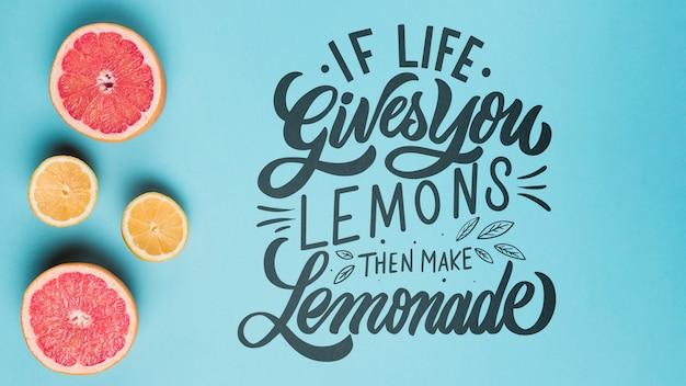 Se la vita ti dà limoni, quindi fare limonata, citazione lettering motivazionale