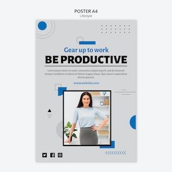 Sea productivo plantilla de póster