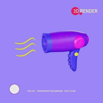 Secador de pelo de icono de renderizado 3d