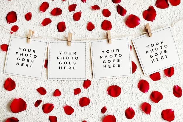 Secuencia romántica de fotos con hilo con pétalos de rosa