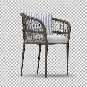 Sedia all'aperto di legno 3d isolata