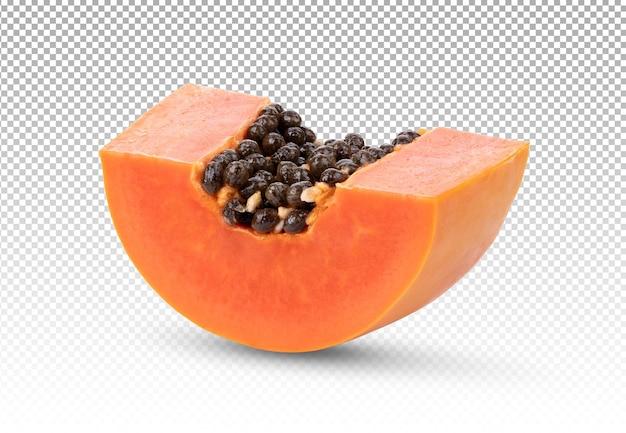 Segmenten van zoete papaja geïsoleerd