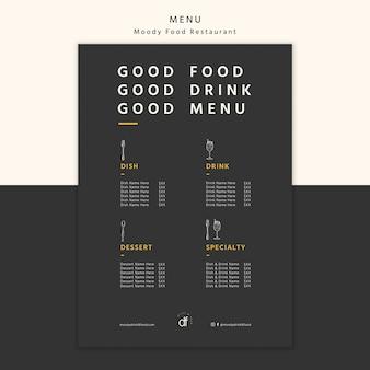 Selezione di menu del ristorante e offerte