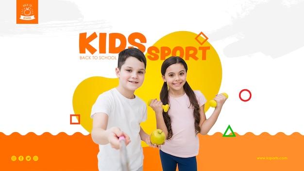 Selfie van kinderen sport sjabloon