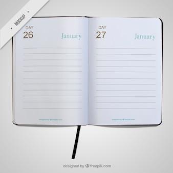 Semplice mockup diario aperto