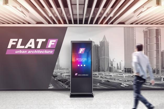 Señalización digital lcd en maqueta de sala de exposiciones.