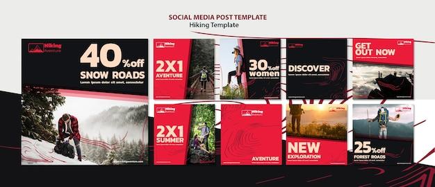 Senderismo plantilla de publicación en redes sociales