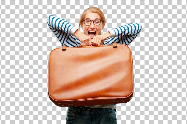 Senior bella donna con un bagaglio valigetta in pelle