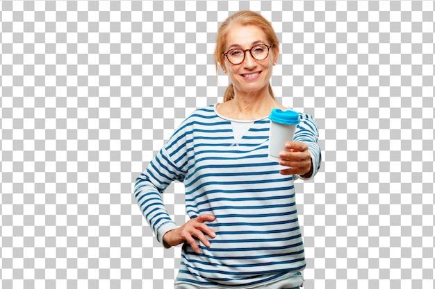 Senior bella donna con un caffè da asporto