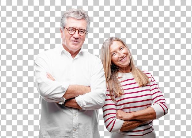 Senior cool man en vrouw lachen