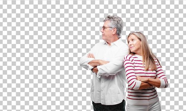 Senior coole man en vrouw met een afwijkende blik