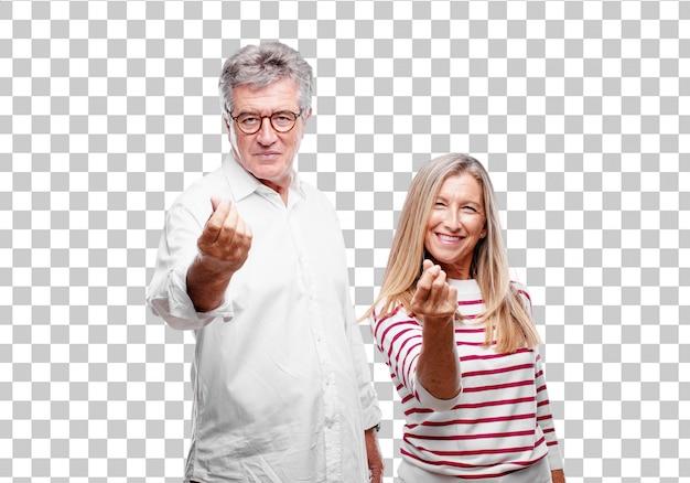 Senior coole man en vrouw op zoek blij, trots en tevreden