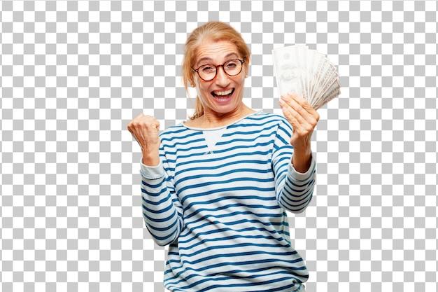 Senior donna bella paga, l'acquisto o il concetto di denaro