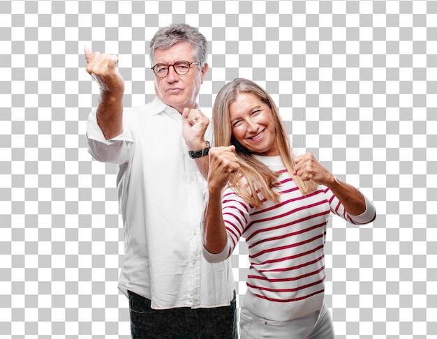 Senior marido fresco y esposa con una mirada enojada