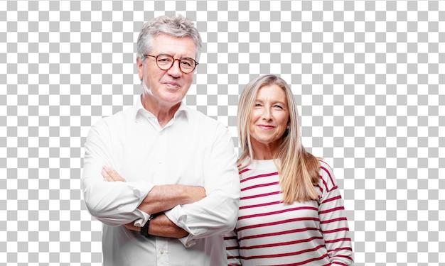 Senior marido y mujer cool con una mirada satisfecha y feliz en su cara