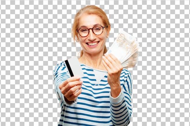 Senior mooie vrouw betalen, kopen of geld concept