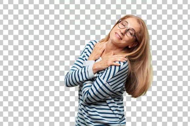 Senior mooie vrouw tevredenheid expressie