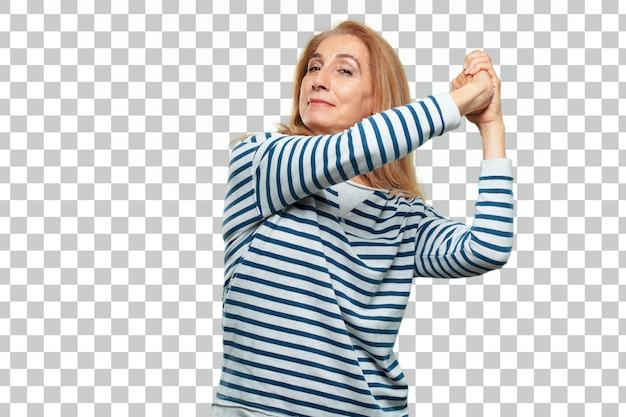 Senior mooie vrouw triumth teken concept
