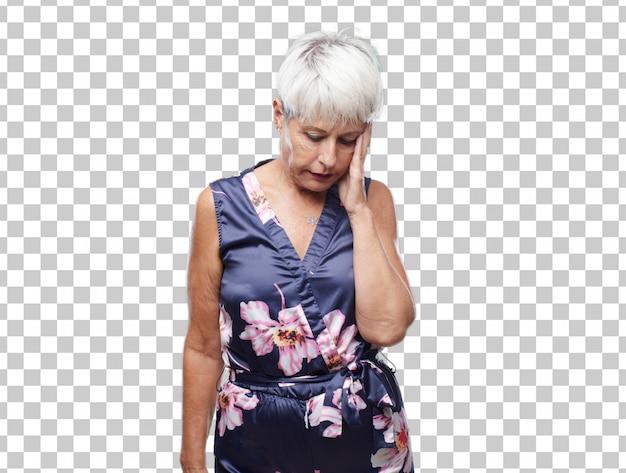Senior mujer cool con una mirada triste de decepción y derrota
