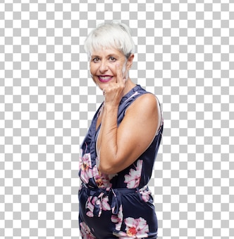 Senior mujer fresca mirando, observando