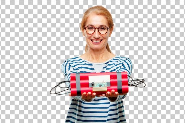 Senior mujer hermosa con una bomba de dinamita