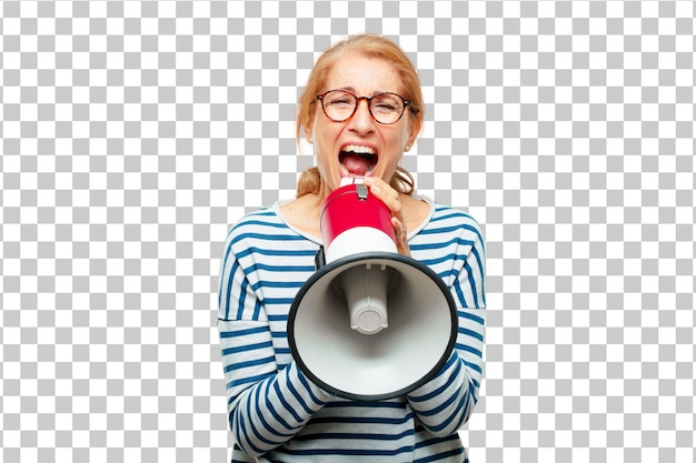 Senior mujer hermosa con un megáfono