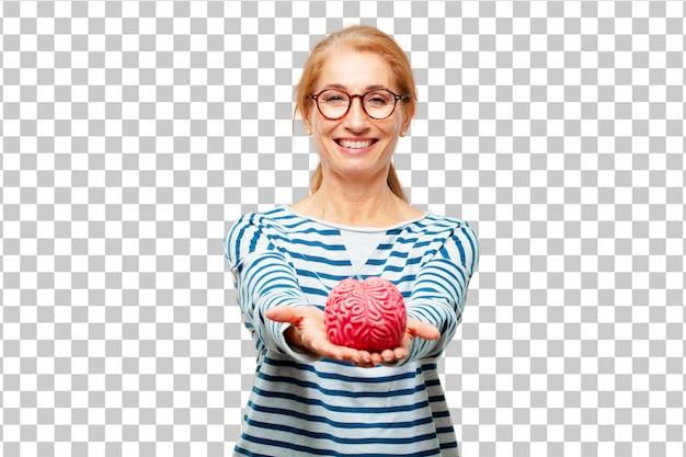Senior mujer hermosa con un modelo de cerebro