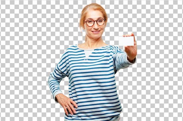 Senior mujer hermosa con una tarjeta de visita