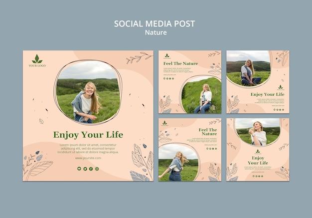 Senti il modello di post sui social media della natura