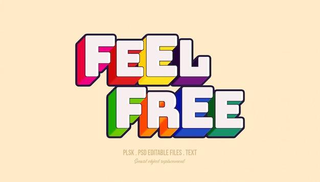 Sentiti libero effetto stile testo 3d