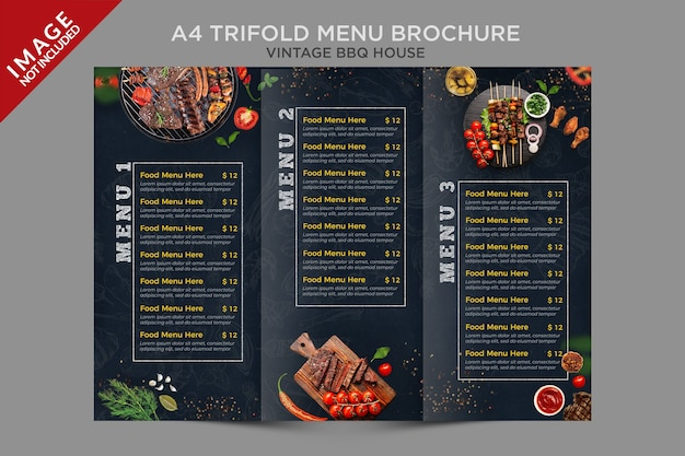 Serie di brochure a tre ante per menu a tre ante per barbecue a4 vintage