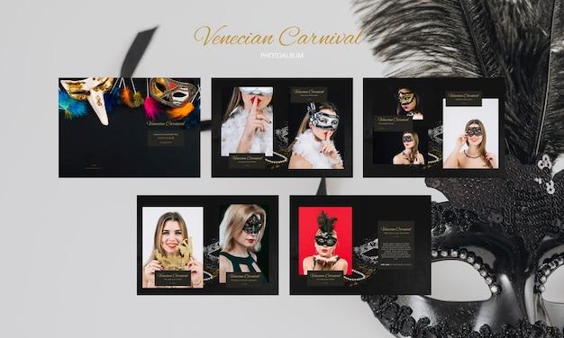 Serie di modelli che indossano maschere per i social media