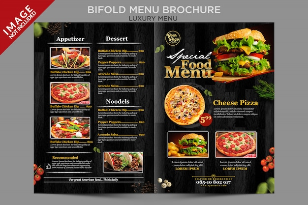 Serie de folletos exteriores de menú plegable de lujo