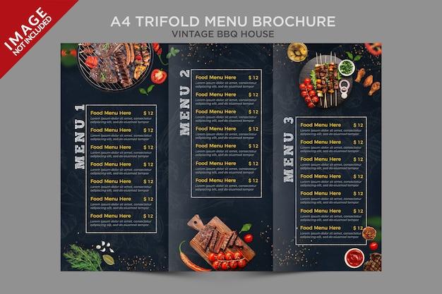 Serie de folletos de menú tríptico a4 vintage bbq house