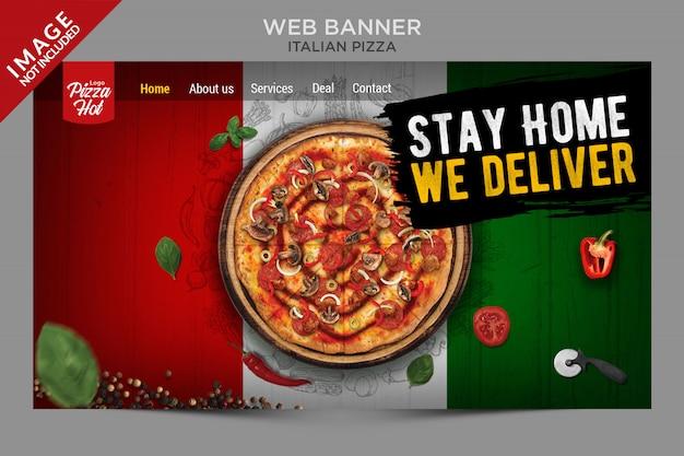 Serie de plantillas de banner web de pizza italiana