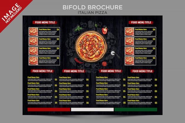Serie de plantillas de folletos plegables de pizza italiana