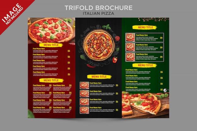 Serie de plantillas trípticas de pizza italiana