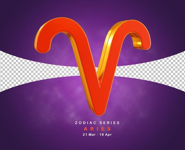 Serie de signos del zodíaco aries para marzo y abril representación 3d aislada