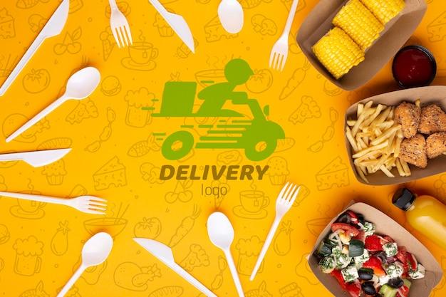 Servicio de comida gratis con maqueta de fondo