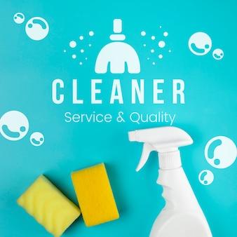 Servicio más limpio y esponja y spray de calidad.