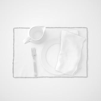 Servies, vork en servet