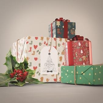 Set cadeau-collectie voor kerst mock-up