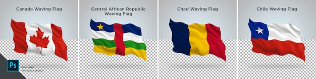 Set di bandiere del canada, repubblica centrafricana, ciad, cile bandiera impostata su trasparente