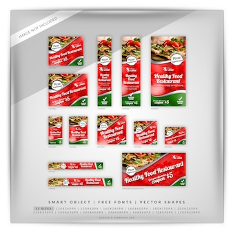 Set di banner google food & restaurant